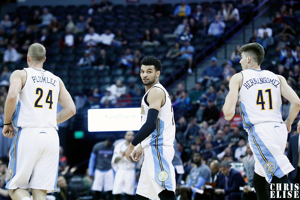 08 March 2017: Denver Nuggets guard Jamal Murray (27) is seen next to Denver Nuggets center Mason Plumlee (24) and Denver Nuggets forward Juancho Hernangomez (41) during the Washington Wizards 123-113 victory over the Denver Nuggets, at the Pepsi Center, Denver, Colorado, USA.
