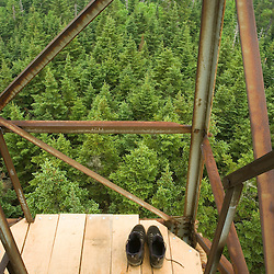 On the fire tower on Monadnock Mountain in Lemington, Vermont.  The Northeast Kingdom.