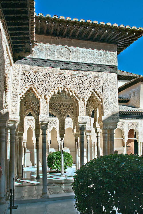 Alhambra, Patio de los Leones, or Lion court.  Side view of a kiosk projecting into the court, covered with Moorish ornament.