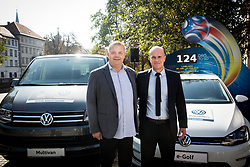 Aleks Stolfa, tournament director and Tobias Frike of Volkswagen car company during presentation of VW Volkswagen as an official mobility partner of Futsal EURO 2018 in Ljubljana, Slovenia, on September 28, 2017. Photo by Vid Ponikvar / Sportida