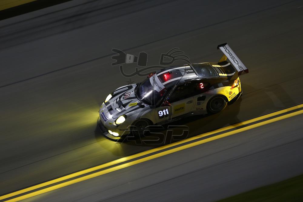 Daytona Beach, FL - Jan 31, 2016:  The IMSA WeatherTech Sportscar Championship teams take to the track for a practice session for the Rolex 24 at Daytona at Daytona International Speedway in Daytona Beach, FL.