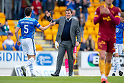 Tommy Wright, manager of St Johnstone FC congratulates Joe Shaughnessy (#5) of St Johnstone FC at the final whistle of the Ladbrokes Scottish Premiership match between St Johnstone and Motherwell at McDiarmid Stadium, Perth, Scotland on 11 May 2019.