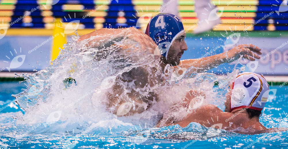 LEN European Water Polo Championships 2016<br /> Spain ESP (White) Vs Italy ITA (Blue)<br /> Men<br /> 4 FIGLIOLI Pietro ITA<br /> 5 MOLINA RIOS Guillermo (C) ESP<br /> Kombank Arena, Belgrade, Serbia <br /> Day14 23-01-2016<br /> Photo G.Scala/Insidefoto/Deepbluemedia
