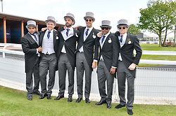 Left to right, England cricketers DAVID WILLEY, ADIL RASHID, LIAM PLUNKETT, STEVEN FINN, CHRIS JORDAN and SAM BILLINGS at the Investec Derby 2015 at Epsom Racecourse, Epsom, Surrey on 6th June 2015.