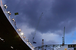 LONDON, ENGLAND - Sunday, March 5, 2017: Construction cranes above Tottenham Hotspur's White Hart Lane as the clubs new stadium us built. (Pic by David Rawcliffe/Propaganda)