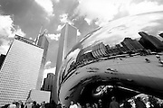 "Anish Kapoor's ""Cloud Gate"" sculpture, which will be finished in September, at Millennium Park in Chicago which opened Friday July 16, 2004."