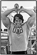April 1976  •  Venice, CA  •  working out at original Gold's Gym  •  Tri-X