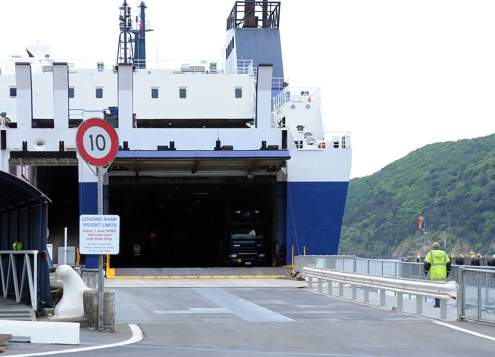 Santa Regina, Bluebridge inter islander ferry, loading ramp. vehicle access, Picton, New Zealand, Saturday, March 02, 2013. Credit:SNPA / Ross Setford