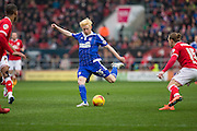 Ipswich Town's Aaron Morris takes a shot during the Sky Bet Championship match between Bristol City and Ipswich Town at Ashton Gate, Bristol, England on 13 February 2016. Photo by Shane Healey.