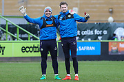 Forest Green Rovers goalkeeper Cameron Belford  and Forest Green Rovers goalkeeper Bradley Collins(1) during the EFL Sky Bet League 2 match between Forest Green Rovers and Colchester United at the New Lawn, Forest Green, United Kingdom on 2 April 2018. Picture by Shane Healey.