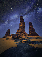 In general view it looks very sad and scary specially in night but it is very attractive and beautiful. I like to see stars through its huge rocks. Here I saw this formation and I imagined it like a huge old people stand respectively to pray for who created all this beauty (Subhan Allah).