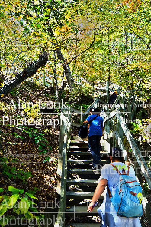 11 October 2015:  Starved Rock State Park Trail stairs (about 140) leading from the river trail to Parkman's Plain. Scenics from along the Illinois River Scenic Road and sites along the drive.  All images were between Ottawa and East Peoria.<br /> <br /> This image was produced in part utilizing High Dynamic Range (HDR) processes.  It should not be used editorially without being listed as an illustration or with a disclaimer.  It may or may not be an accurate representation of the scene as originally photographed and the finished image is the creation of the photographer.