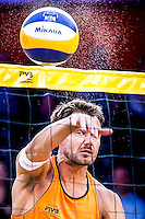 DEN HAAG - Poulewedstrijd Nummerdor/Varenhorst - Talavera/Vargas , Beachvolleybal , WK Beach Volleyball 2015 , 26-06-2015 , Reinder Nummerdor