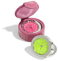 two link travel clocks pink and silver and neon green and silver