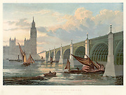 Westminster Bridge, London, looking from the south bank of the Thames.  This is the bridge rebuilt by Thomas Page (1803-1877) beginning in 1853. Charles Barry (1795-1860), architect of the Houses of Parliament, designed details on the bridge in keeping with Parliament. Bridge opened in 1862. In right foreground a barge lowers its mast to pass under one of the arches of the bridge.  From 'The Illustrated London News'. (London, 1858). Chromolithograph.