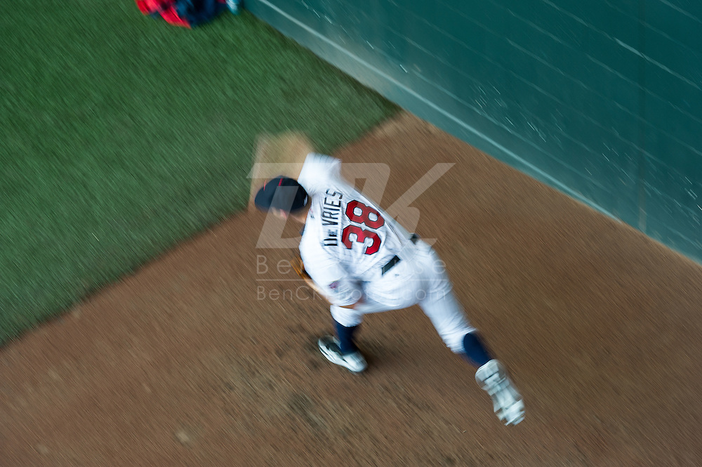Cole Devries (38) of the Minnesota Twins prepares before a game against the Tampa Bay Rays on August 10, 2012 at Target Field in Minneapolis, Minnesota.  The Rays defeated the Twins 12 to 6.  Photo: Ben Krause