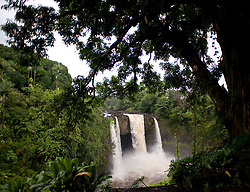 Rainbow Falls is a 80 ft. tall waterfall on the Wailuku River in Wailuku River State Park. The falls located on the Big Island of Hawaii is also known as Waianuenue. Ancient Hawaiians thought the cave behind the falls was the home of the Hawaiian goddess, Hina.
