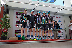 Drops Cycling Team riders stand on the sign-on podium before Stage 1 of the Emakumeen Bira - a 50 km road race, starting and finishing in Iurreta on May 16, 2017, in Basque Country, Spain.