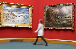 The Scottish National Gallery hosts one of British arts finest masterpieces, Constable's Salisbury Cathedral from the Meadows (1831). The display is part of Aspire, a partnership programme touring the painting across the UK.<br /> <br /> The artwork is being shown alongside one of the most powerful and celebrated of all Scottish landscape paintings: The Storm (1890) by William McTaggart.<br /> <br /> Salisbury Cathedral from the Meadows was secured for the British public through the Heritage Lottery Fund, the Manton Foundation, Art Fund (with a contribution from the Wolfson Foundation) and Tate members.<br /> <br /> Pictured: Constable's Salisbury Cathedral from the Meadow
