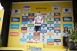 Lotta Lepistö (FIN) of Cervélo-Bigla Cycling Team celebrates her win at the Aviva Women's Tour 2016 - Stage 5. A 113.2 km road race from Northampton to Kettering, UK on June 19th 2016.