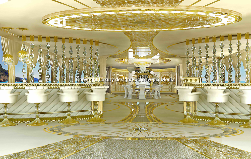 Inside the Worlds Luxury Yacht  for WOMEN, with Swarovski Crystal chandeliers , gold mosaics ice fountains and a spa all a woman could want for Valentines day... for the rich of course!<br />