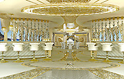 """Inside the Worlds Luxury Yacht  for WOMEN, with Swarovski Crystal chandeliers , gold mosaics ice fountains and a spa all a woman could want for Valentines day... for the rich of course!<br /><br />Luxury designer Lidia Bersani has created the first Luxury mega yacht for women in mind.<br /><br />The white and gold yacht measuring 262ft, is for women buyers and is designed using crystal, gold fur and flowers, named LA BELLE, which means  """"the beauty""""<br /><br />the yacht can sleep 12 guests in six luxury cabins, the spa area with hydromassage pool, harman, infrared sauce, snow room and ice fountains, fitness club ,beauty centre , nightclub, cinema and bars.<br /><br />""""the Idea is to equip the super yacht with ultra modern stabilizing system and state of the art machinery and equipment"""" says Lidia Bersani of Luxury design.<br /><br />Each deck has an outside area for sun bathing , and looking out to sea.<br />A helicopter pad sits on top of the yacht, all the luxury a woman could want...<br /><br />Photo shows; Main Interior<br />©Luxury design/Exclusivepix Media"""