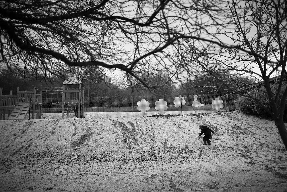 Ben plays in the snow outside his school in  Berkhamsted England Thursday, Jan. 29, 2015 (Elizabeth Dalziel) #thesecretlifeofmothers #bringinguptheboys #dailylife
