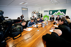 Head coach Slavisa Stojanovic and Ales Zavrl, secretary general during press conference of the Football Association of Slovenia (NZS – Nogometna zveza Slovenije), on November 7, 2011, in NZS, Crnuce, Ljubljana, Slovenia.  (Photo by Vid Ponikvar / Sportida)