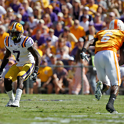 Oct 2, 2010; Baton Rouge, LA, USA; LSU Tigers cornerback Patrick Peterson (7) covers Tennessee Volunteers wide receiver Denarius Moore (6) during the first quarter at Tiger Stadium. LSU defeated Tennessee 16-14.  Mandatory Credit: Derick E. Hingle