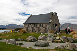 People entering the Church of the Good Shepard, Lake Tekapo, Mackenzie District, South Island, New Zealand