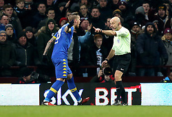Referee Roger East waves Pontus Jansson of Leeds United away before awarding a penalty to Aston Villa - Mandatory by-line: Robbie Stephenson/JMP - 29/12/2016 - FOOTBALL - Villa Park - Birmingham, England - Aston Villa v Leeds United - Sky Bet Championship
