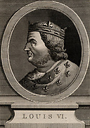 Louis VI, the Fat (1081-1137) king of France from 1108.  A member of the Capetian dynasty. Copperplate engraving 1793.
