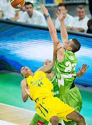 Dante Exum of Australia injured when playing against Alen Omic of Slovenia during friendly basketball match between National teams of Slovenia and Australia, on August 4, 2015 in Arena Stozice, Ljubljana, Slovenia. Photo by Vid Ponikvar / Sportida