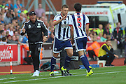 West Bromwich Albion forward Rickie Lambert comes on for Claudio Yacob during the Barclays Premier League match between Stoke City and West Bromwich Albion at the Britannia Stadium, Stoke-on-Trent, England on 29 August 2015. Photo by Aaron Lupton.