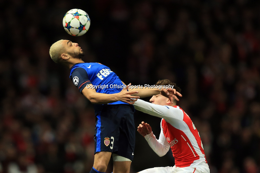 25 February 2015 - UEFA Champions League - Last 16 (1st Leg) - Arsenal v AS Monaco - Layvin Kurzawa of AS Monaco in action with Hector Bellerin of Arsenal - Photo: Marc Atkins / Offside.