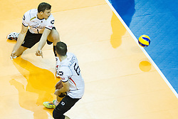 09.01.2016, Max Schmeling Halle, Berlin, GER, CEV Olympia Qualifikation, Deutschland vs Russland, im Bild Christian Fromm (#1, GER) und Denys Kaliberda (#6, GER) / ohne Chance // during 2016 CEV Volleyball European Olympic Qualification Match between Germany and Russia at the Max Schmeling Halle in Berlin, Germany on 2016/01/09. EXPA Pictures © 2016, PhotoCredit: EXPA/ Eibner-Pressefoto/ Wuechner<br /> <br /> *****ATTENTION - OUT of GER*****