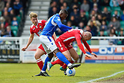 Wrexham AFC Midfielder, Russell Penn (16) is tackled by Eastleigh Defender, Hakeem Odoffin (29) during the Vanarama National League match between Eastleigh and Wrexham FC at Arena Stadium, Eastleigh, United Kingdom on 29 April 2017. Photo by Adam Rivers.