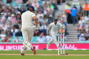 The ball drops down next to the stumps from a shot Alastair Cook of England played during day 3 of the 5th test match of the International Test Match 2018 match between England and India at the Oval, London, United Kingdom on 9 September 2018.