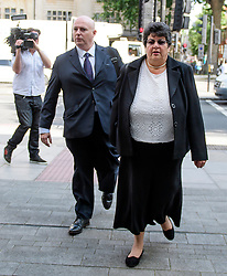 © Licensed to London News Pictures. 04/07/2017. London, UK. MARRION LITTLE (right) arrives at Westminster Magistrates Court in London where she faces charges relating to the 2015 general election expenses of Conservative MP Craig Mackinlay. Craig Mackinlay, Nathan Gray and Marion Little have each been charged with offences under the Representation of the People Act 1983. Photo credit: Ben Cawthra/LNP