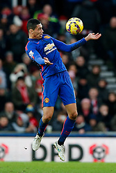 Chris Smalling of Manchester United in action - Photo mandatory by-line: Rogan Thomson/JMP - 07966 386802 - 01/01/2015 - SPORT - FOOTBALL - Stoke-on-Trent, England - Britannia Stadium - Stoke City v Manchester United - New Year's Day Football - Barclays Premier League.