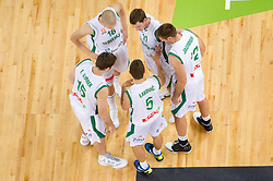 Erazem Lorbek of Slovenia, Edo Muric of Slovenia, Jaka Lakovic of Slovenia, Goran Dragic of Slovenia and Goran Jagodnik of Slovenia during friendly match before Eurobasket Lithuania 2011 between National teams of Slovenia and Lithuania, on August 24, 2011, in Arena Stozice, Ljubljana, Slovenia. (Photo by Vid Ponikvar / Sportida)