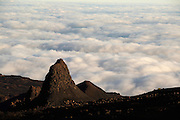 Sea covered by clouds seen from the slope of Pico Fogo, Fogo Island, Cape Verde, West Africa.