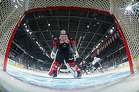 KELOWNA, CANADA - JANUARY 18: Brody Willms #35 of the Moose Jaw Warriors stands in net against the Kelowna Rockets on January 18, 2017 at Prospera Place in Kelowna, British Columbia, Canada.  (Photo by Marissa Baecker/Shoot the Breeze)  *** Local Caption ***