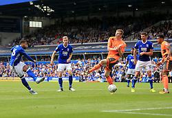 David Davis of Birmingham City sees his shot blocked by Jon Dadi Bodvarsson of Reading - Mandatory by-line: Paul Roberts/JMP - 26/08/2017 - FOOTBALL - St Andrew's Stadium - Birmingham, England - Birmingham City v Reading - Sky Bet Championship