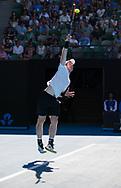 ANDY MURRAY (GBR) ,Aufschlag im Gegenlicht, Schatten,Schweiss,<br /> <br /> Australian Open 2017 -  Melbourne  Park - Melbourne - Victoria - Australia  - 22/01/2017.
