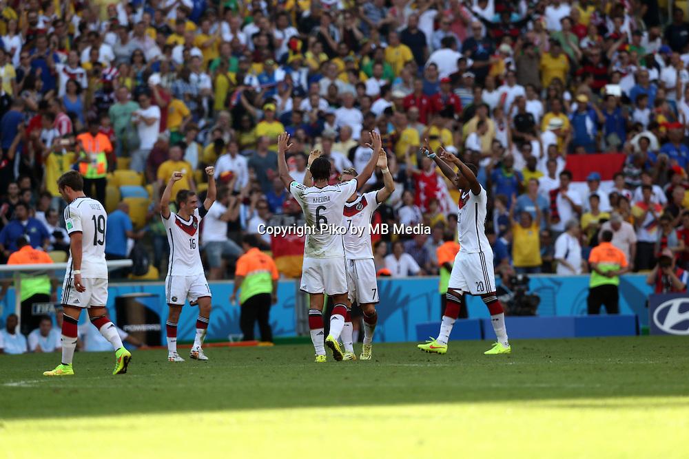 Fifa Soccer World Cup - Brazil 2014 - <br /> FRANCE (FRA) Vs. GERMANY (GER) - Quarter-finals - Estadio do MaracanaRio De Janeiro -- Brazil (BRA) - 04 July 2014 <br /> Here German players celebrating after finish the match.<br /> From L to R = Mario GOETZE - Philipp LAHM - Sami KHEDIRA - Bastian SCHWEINSTEIGER - Jerome BOATENG<br /> &copy; PikoPress