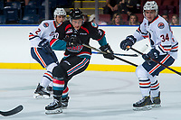 KELOWNA, CANADA - SEPTEMBER 5: Conner Bruggen-Cate #20 of the Kelowna Rockets skates against the Kamloops Blazers on September 5, 2017 at Prospera Place in Kelowna, British Columbia, Canada.  (Photo by Marissa Baecker/Shoot the Breeze)  *** Local Caption ***