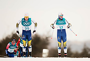 PYEONGCHANG-GUN, SOUTH KOREA - FEBRUARY 11: Jens Burman of Sweden and Calle Halfvarsson of Sweden 1during the Mens Skiathlon 15km+15km Cross-Country Skiing on day two of the PyeongChang 2018 Winter Olympic Games  at Alpensia Cross-Country Centre on February 11 in Pyeongchang-gun, South Korea. Photo by Nils Petter Nilsson/Ombrello               ***BETALBILD***