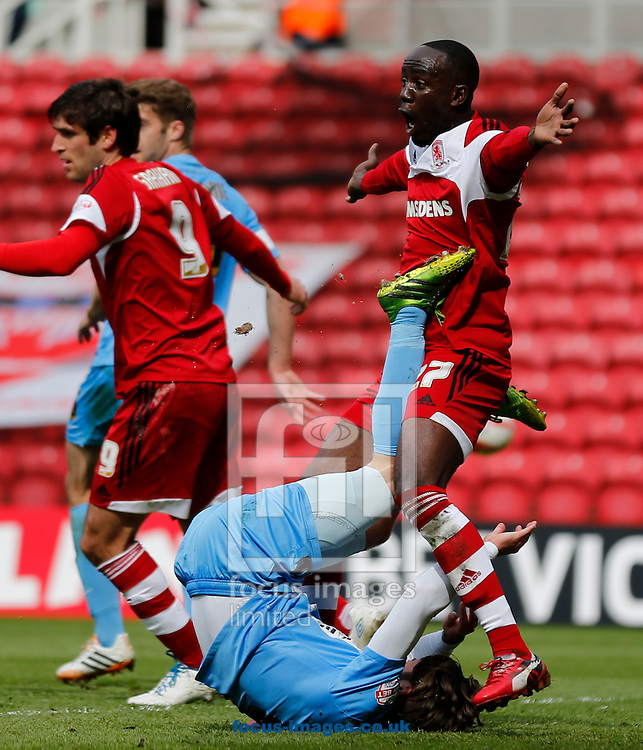 Albert Adomah of Middlesbrough appeals for a penalty during the Sky Bet Championship match at the Riverside Stadium, Middlesbrough<br /> Picture by Simon Moore/Focus Images Ltd 07807 671782<br /> 26/04/2014