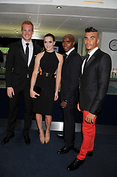 Left to right, GREG RUTHERFORD, VICTORIA PENDLETON, MO FARAH and LOUIS SMITH at the GQ Men of The Year Awards 2012 held at The Royal Opera House, London on 4th September 2012.